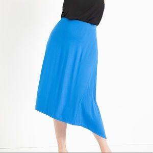 Eloquii Knit Midi Skirt asymmetrical trim